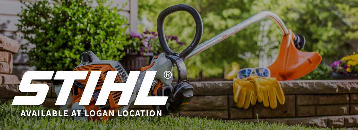 Stihl logo with weed eater background with words Available at Logan Location