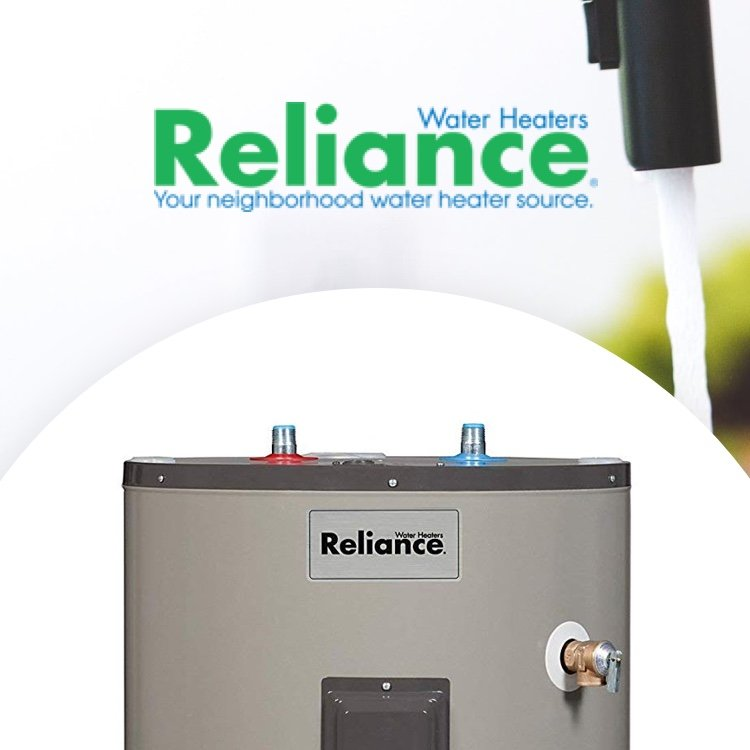 Reliance Water Heaters logo with water heater and running sink water in background