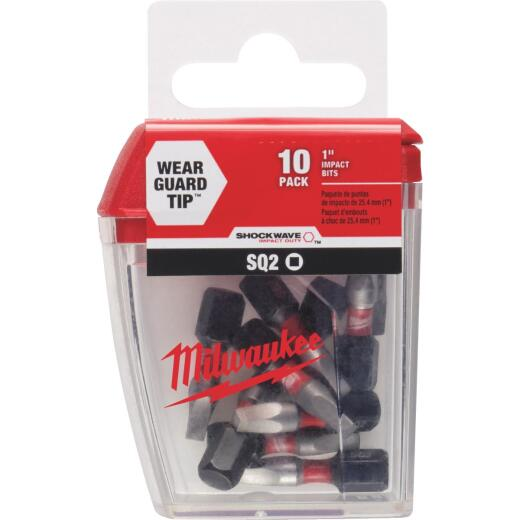 Milwaukee Shockwave #2 Square Recess 1 In. Insert Impact Screwdriver Bit (10-Pack)