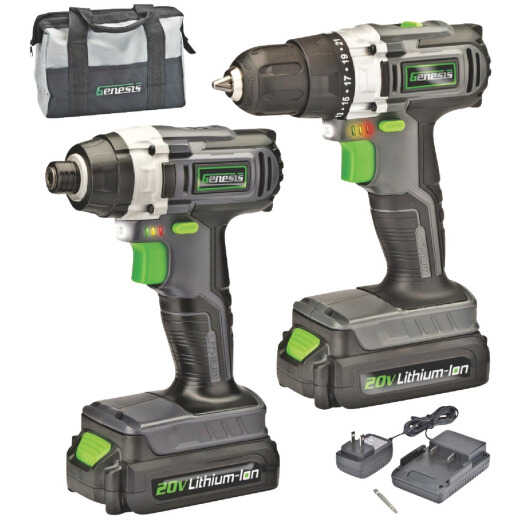 Genesis 20V 2-Tool Lithium-Ion Drill/Driver & Impact Driver Cordless Tool Combo Kit