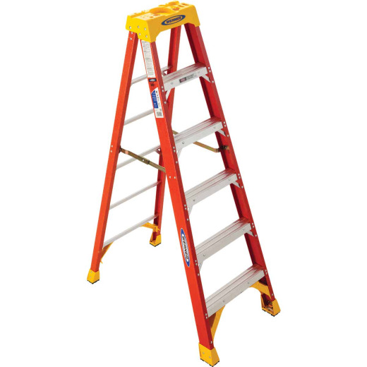 Werner 6 Ft. Fiberglass Step Ladder with 300 Lb. Load Capacity Type IA Ladder Rating