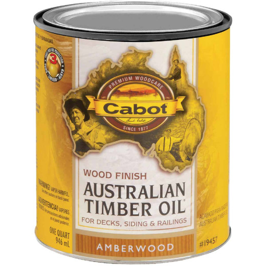 Cabot Australian Timber Oil Water Reducible Translucent Exterior Oil Finish, Amberwood, 1 Qt.